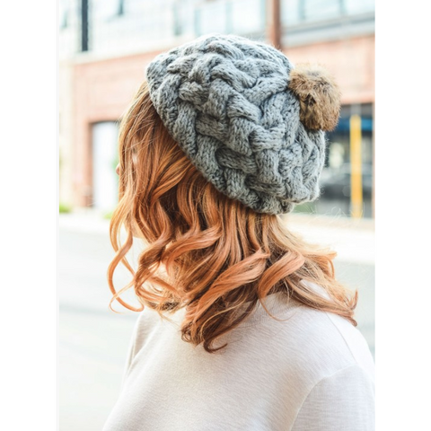 Beautifully Knit Gray Beret