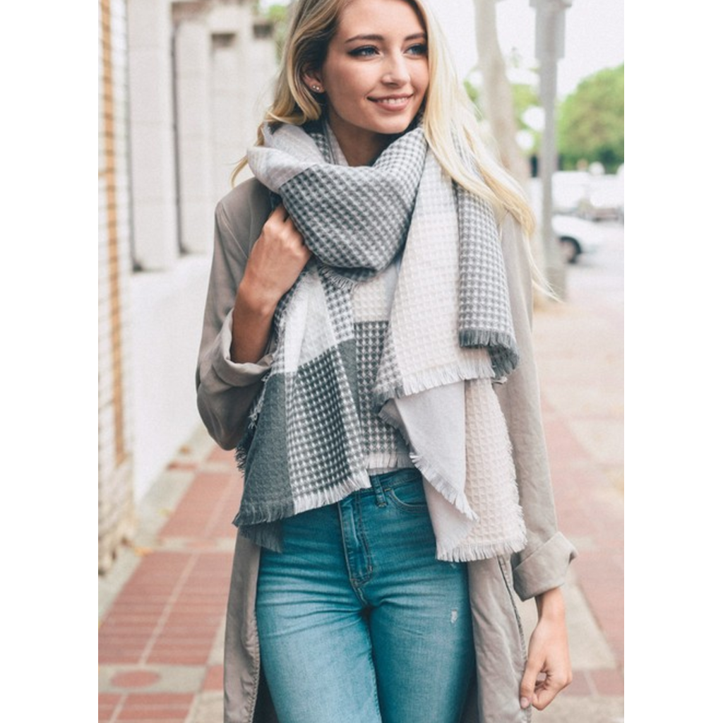 Soft Gray & Blush Plaid Waffle Style Knit Blanket Scarf