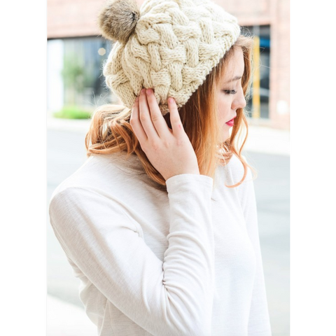 Beautifully Knit Ivory Beret