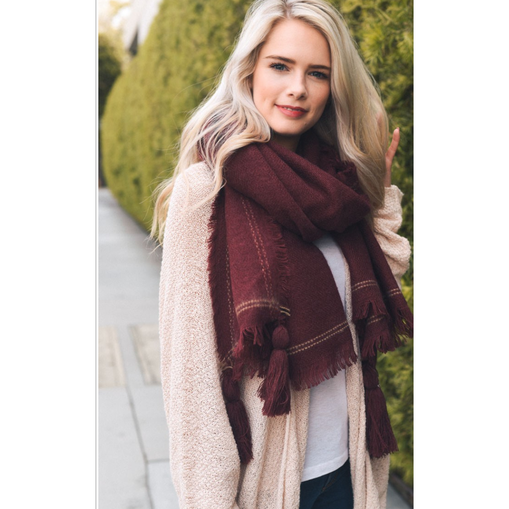 Long Burgundy Tassel Frayed Blanket Scarf