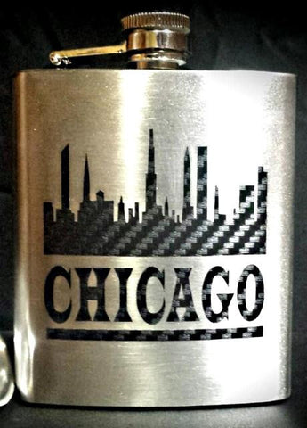 6oz Stainless Steel Flask Liquor Whiskey Custom Chicago Skyline Funnel