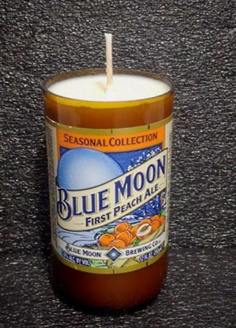 Blue Moon Peach Ale ManCrafted Beer Bottle Scented Soy Candles for mancave
