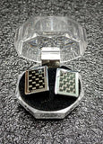 Carbon Fiber Cufflinks Pair Gift Set Men's Fashion