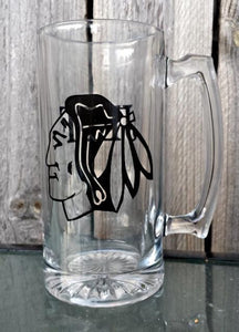 Chicago Blackhawks custom logo beer mug personalized hockey