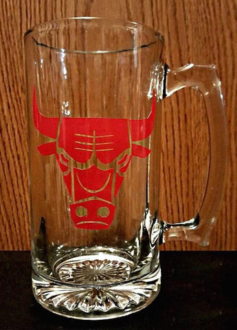 Chicago Bulls NBA basketball logo beer mug personalized