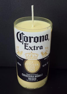 Mexican Corona beer bottle scented soy candle