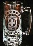 Cruz Azul Mexican Soccer team custom beer mug futbol cerveza