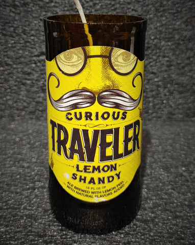 Curious Traveler Lemon Shandy Beer Bottle Scented Soy Candle