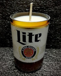 Miller Lite beer bottle soy scented candle