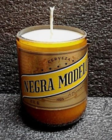 Modelo Negra ManCrafted Beer Bottle Scented Soy Candles for mancave