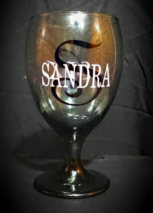 Wine glass personalized birthday name drinking tinted custom