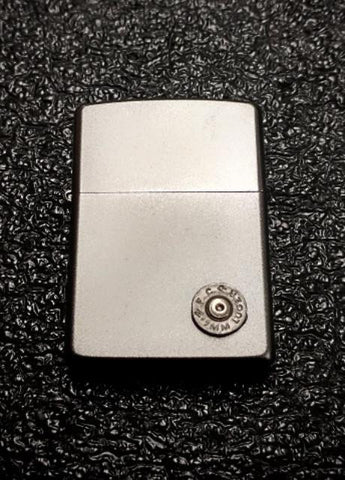 Authentic Zippo Satin Chrome Lighter 9mm bullet ammo casing
