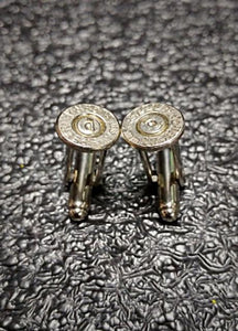9mm Nickel Brass Bullet Casing Cufflink Set