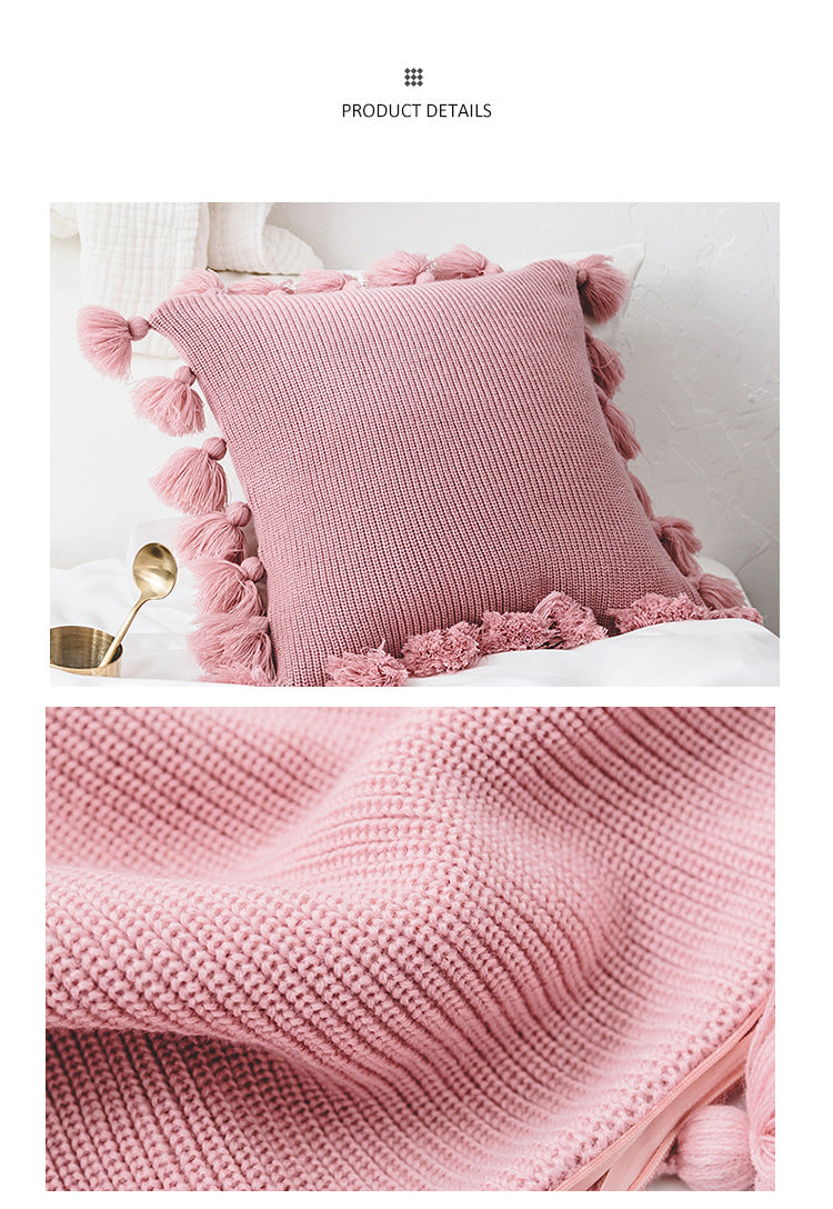 New Soft Acrylic Knitted Tassel Square Cushion Home Decor