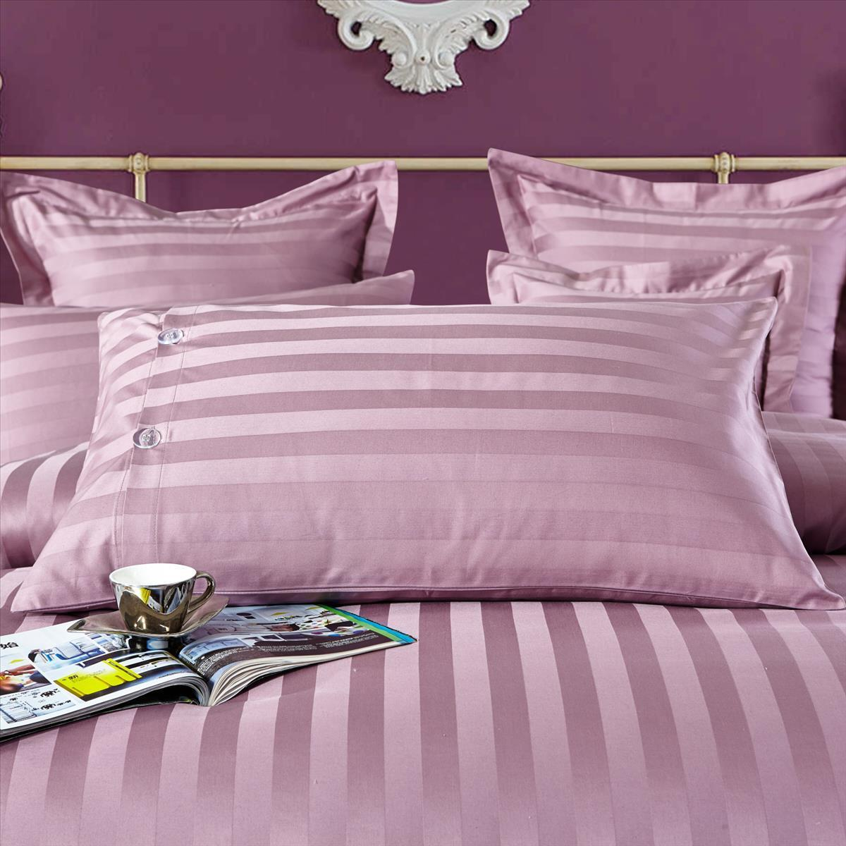 100 Cotton Purple Striped Duvet Cover Set