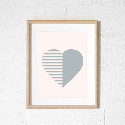 'STRIPEY HEART' Print by Sprout and Sparrow