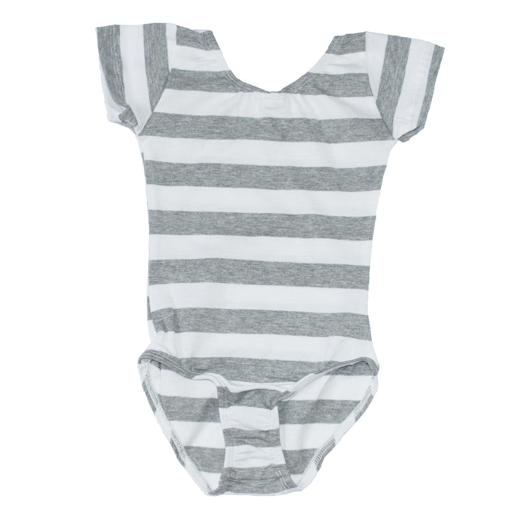 Short Sleeve Leotard Heather Gray and white stripes
