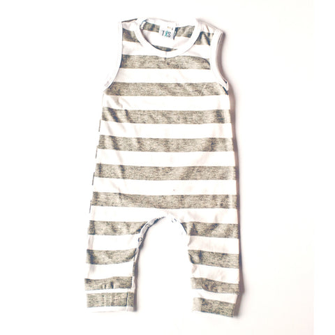 Tank Romper Heather Gray and White Stripe