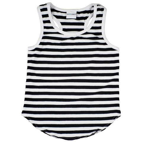 Racer Tank Top Black and white stripe