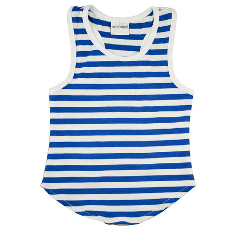 Racer Tank Top Royal Blue and White stripe