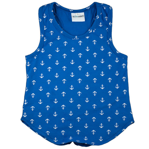 Racer Tank Top Royal Blue Anchors