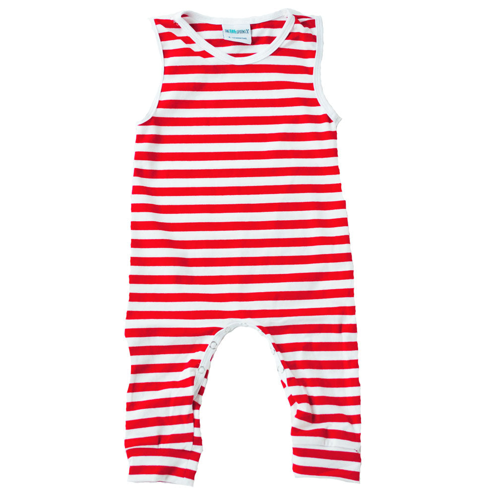 Red and white striped Tank Romper