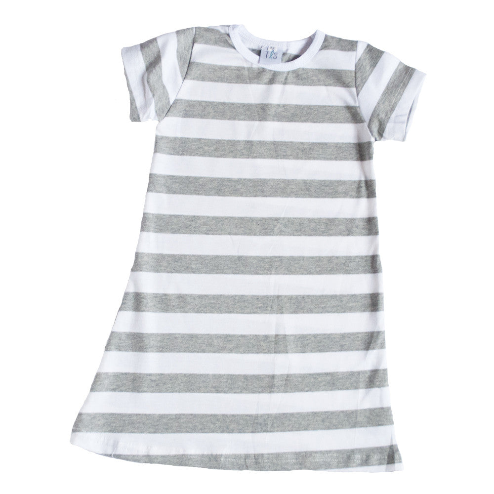 Short Sleeve Play Dress Heather Gray and White Stripes