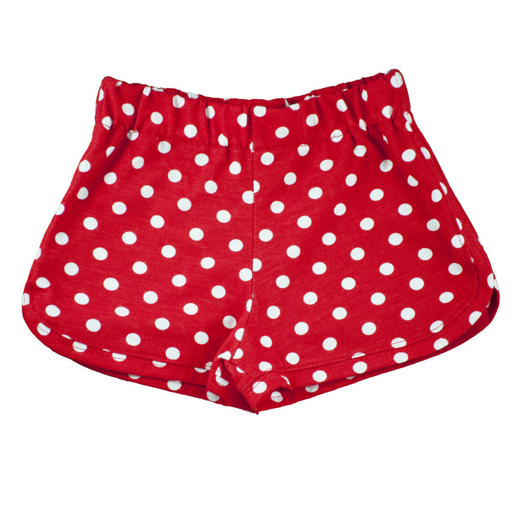 Red and White Polka dot Track Shorts