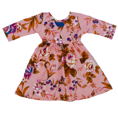 Swing Dress Blush Fall Floral