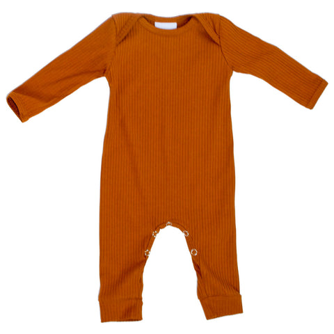 Long Sleeve Pumpkin Spice Ribbed Romper