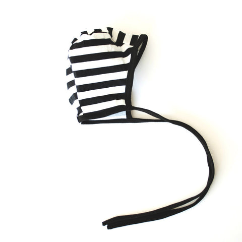 Baby Bonnet Black and White stripe