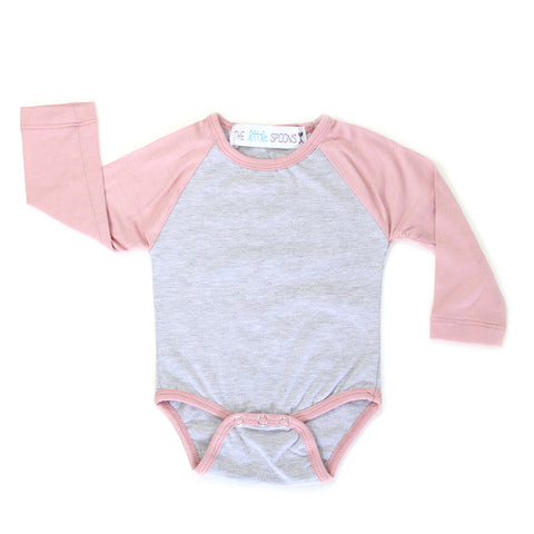 Home Run Tee Dusty Rose & Heather Gray Onesie