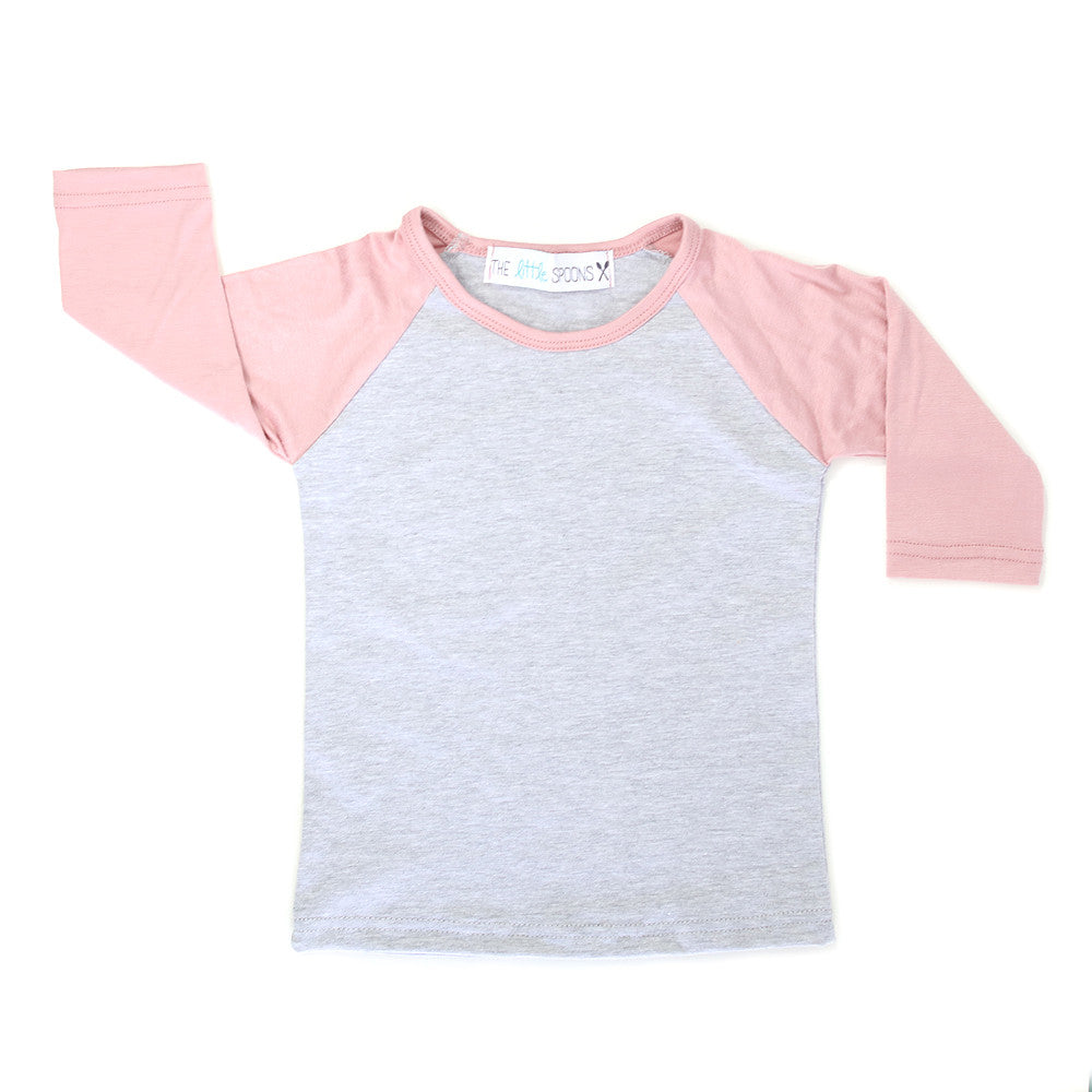 Home Run Tee Dusty Rose & Heather Gray