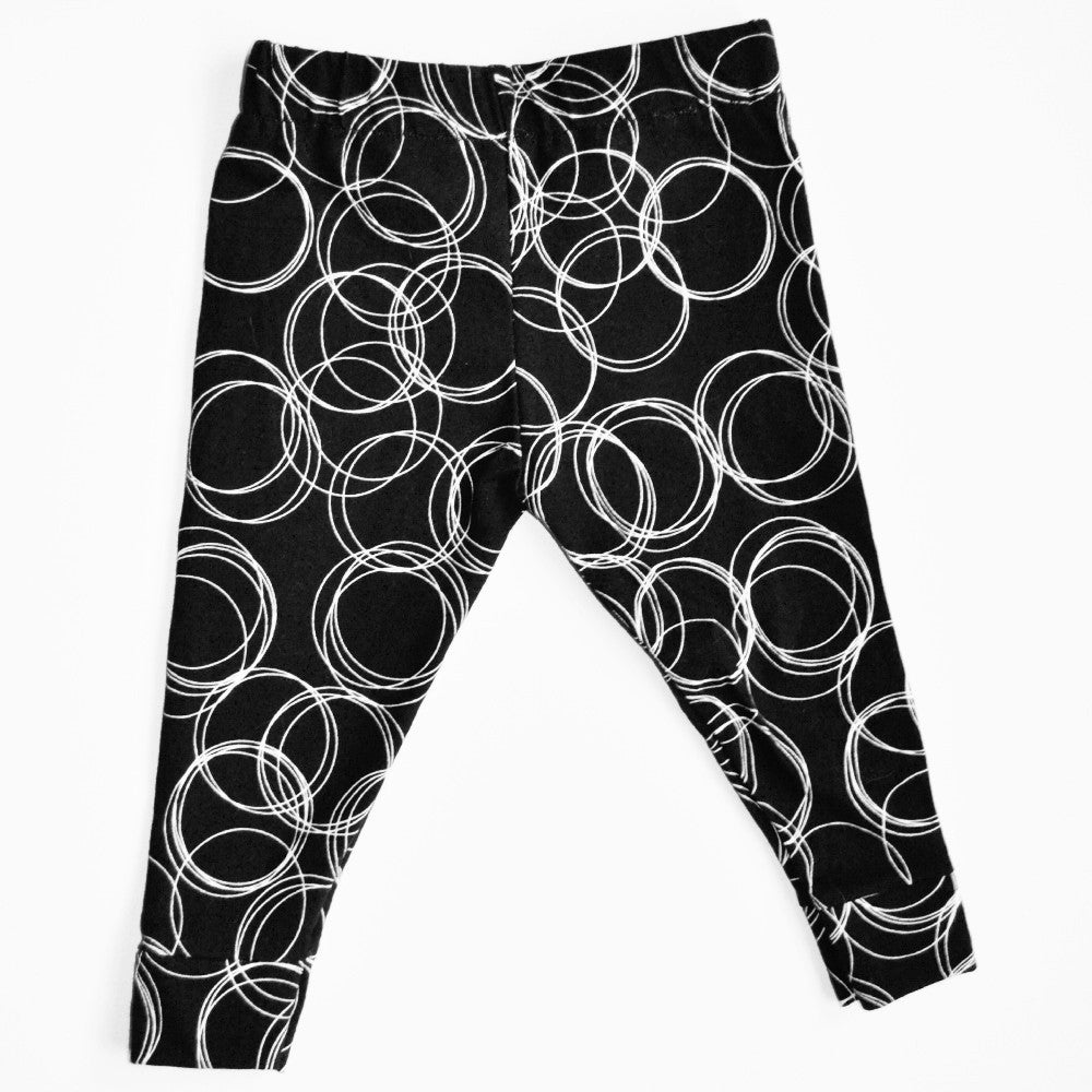 Black and white Circle Cotton Knit Leggings