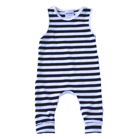 Black and white striped Tank Romper