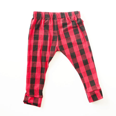 Red and Black Buffalo Plaid Cotton Knit Leggings