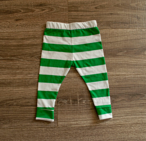 Green and white Cotton Knit Leggings