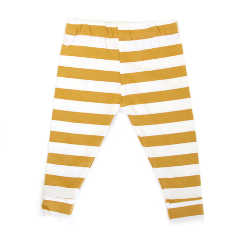 Mustard Stripe Cotton Knit Leggings