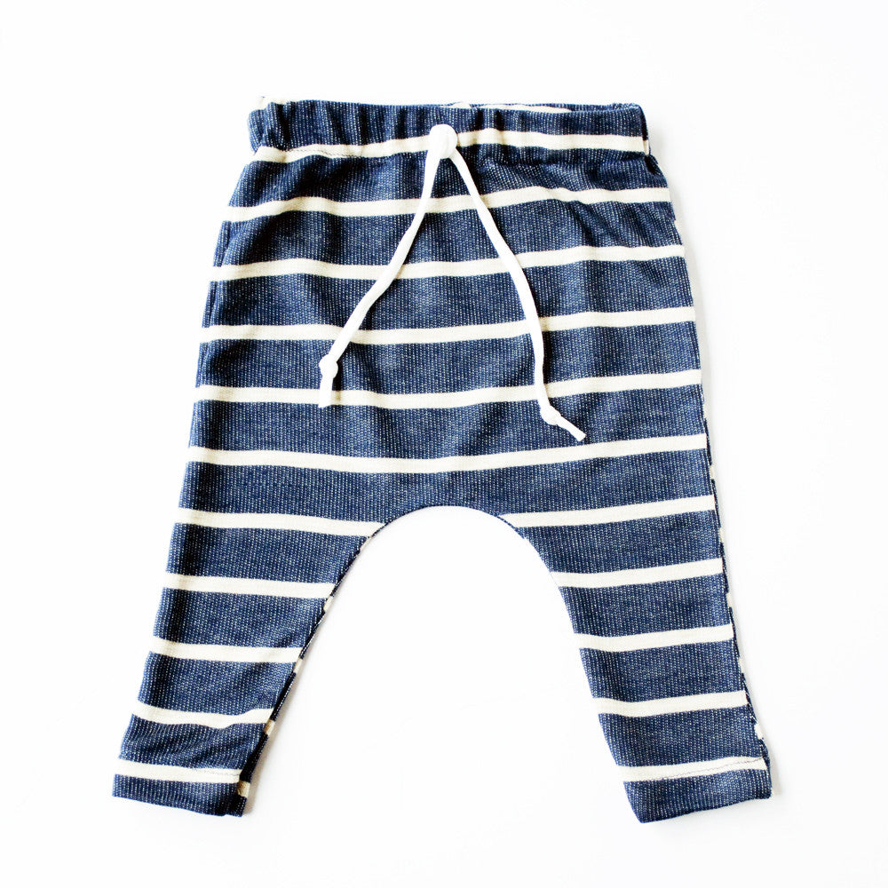 Navy and oatmeal stripe Slim Joggers