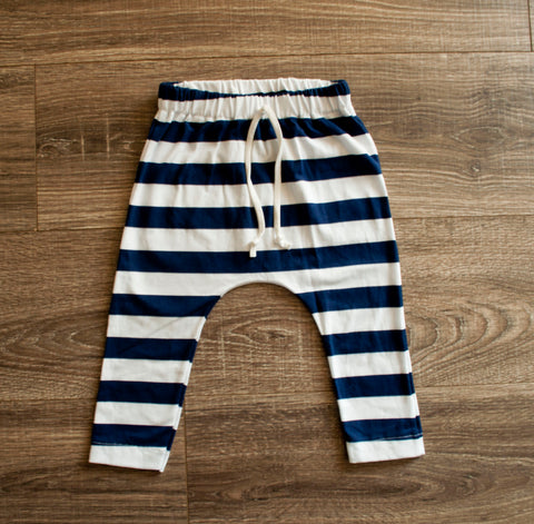 DOOR BUSTER: Navy and White Stripe Slim Joggers
