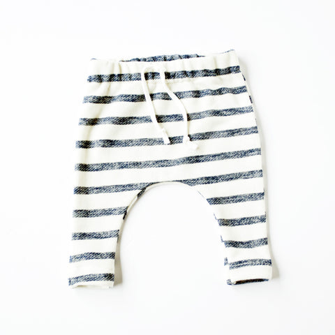 Oatmeal with navy stripe Slim Joggers