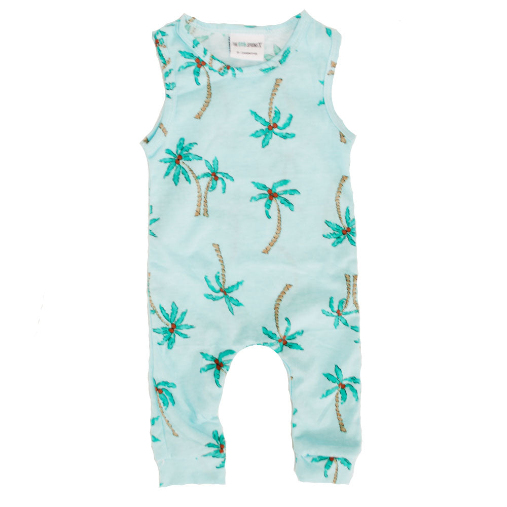 Tank Romper Blue Palms