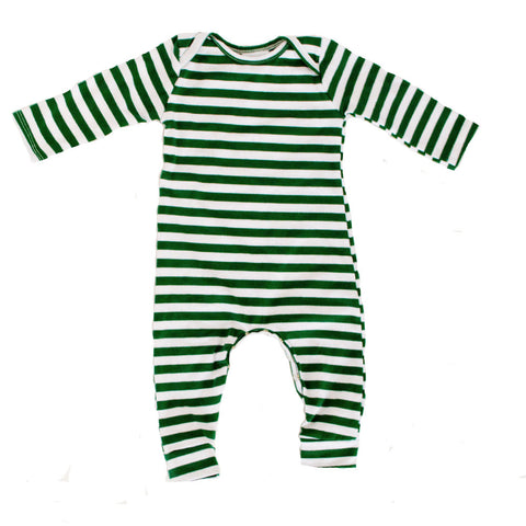 Pine Green Stripe romper