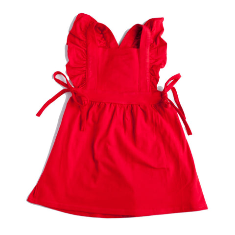 Pinafore Suspender Skirt Crimson Red