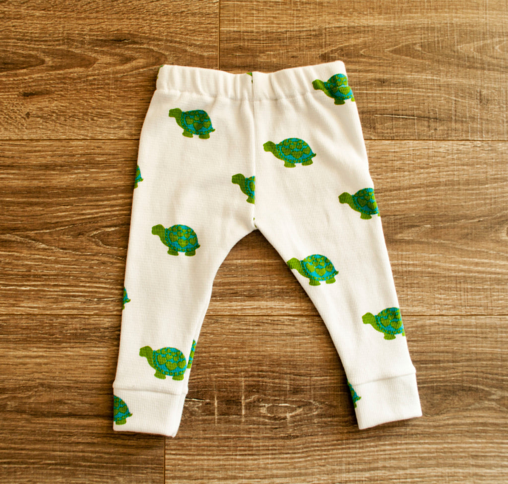 DOOR BUSTER : Waffle Knit Green Turtles Lounge Pants