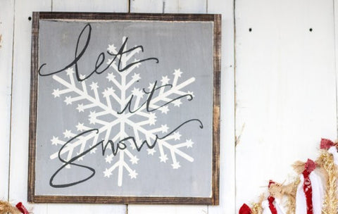 Let It Snow Wood Wall Sign