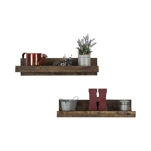 Pine Wood Floating Shelves - Set of 2