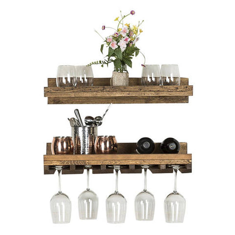 Reclaimed Wood Floating Wine Racks - Set of 2