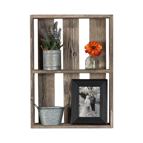 Reclaimed Wood Wall Shelf with Spaced Boards - 24""