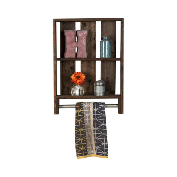 Reclaimed Wood Bathroom Shelf with Towel Rod - Vertical